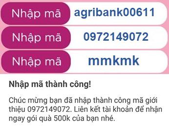 Mã giới thiệu Momo nhận 999K: mmkmk, 0972149072, agribank00611